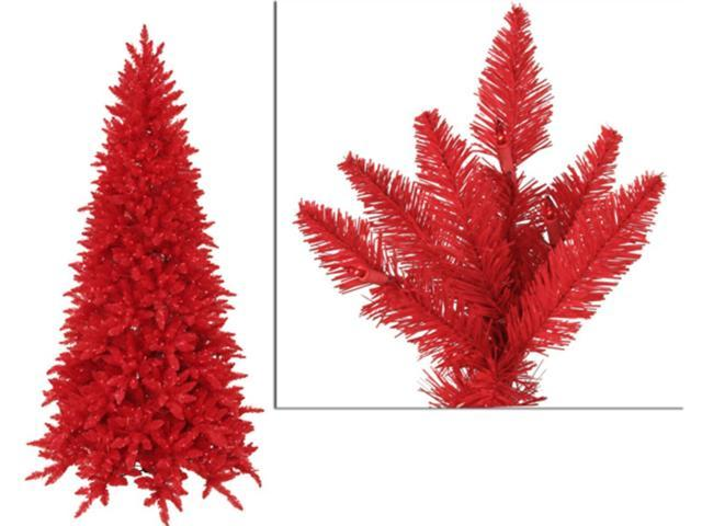 10' Pre-Lit Slim Red Ashley Spruce Artificial Christmas Tree - Red Lights