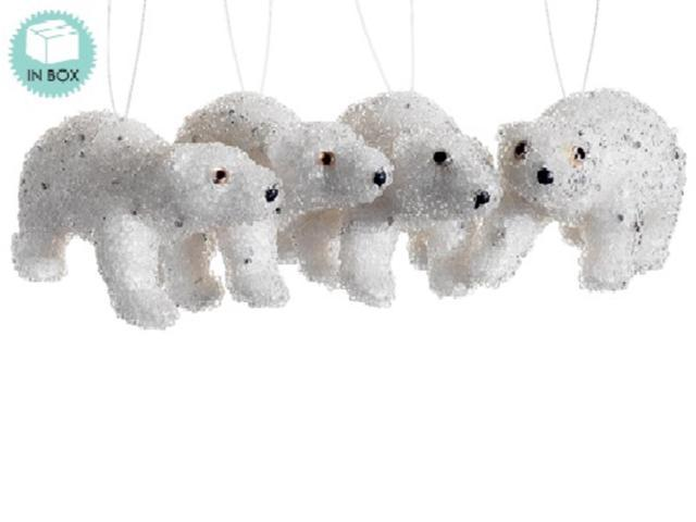 Set of 4 Snow Drift Winter White Jeweled Polar Bear Christmas Ornaments