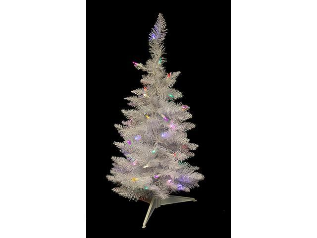 2.5' Pre-Lit LED White Sparkle Spruce Pencil Artificial Christmas Tree - Multi
