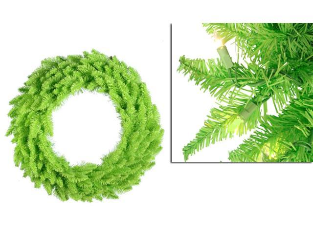 5' Pre-Lit Lime Green Ashley Spruce Christmas Wreath - Clear & Green Lights