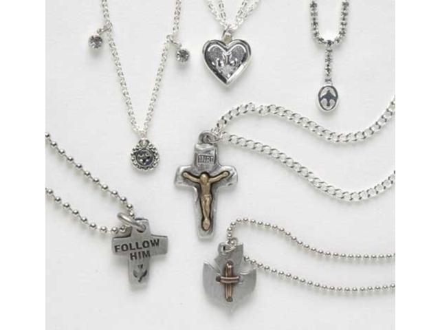 12 Piece Set of Assorted Styles Religious Confirmation Pendants #18987