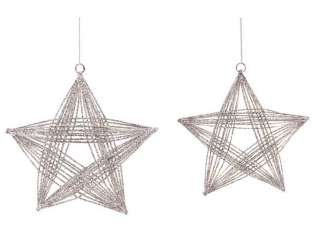 Set of 2 Silver Glittered Three Dimensional Wire Frame Star Christmas Ornaments 8.25
