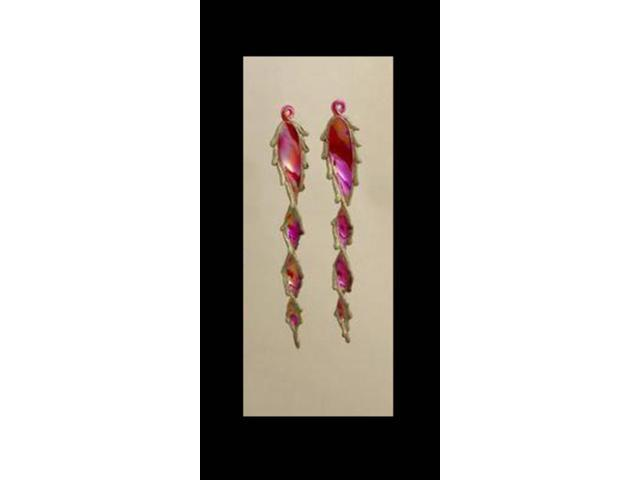 Set of 2 Red Twist Icicle Glittery Shatterproof Christmas Ornaments # PL0218