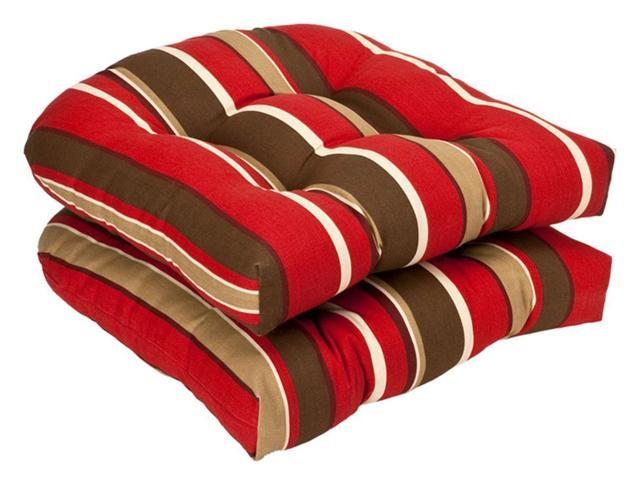 Pack of 2 Outdoor Patio Wicker Chair Seat Cushions - Tropical Red Stripe