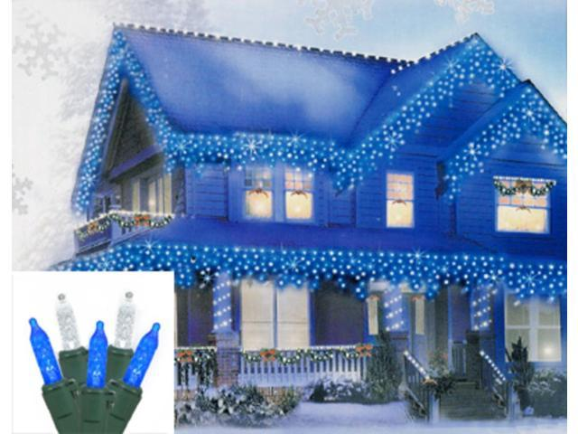 Set of 70 Blue & Pure White LED M5 Mini Icicle Christmas Lights - Green Wire