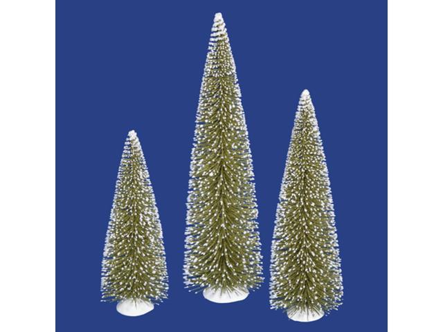 Set of 3 Flocked Olive Green Artificial Mini Village Christmas Trees - Unlit