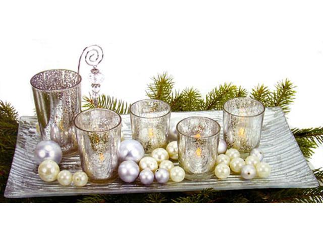 9-Piece Silvered Glass Christmas Votive Candle