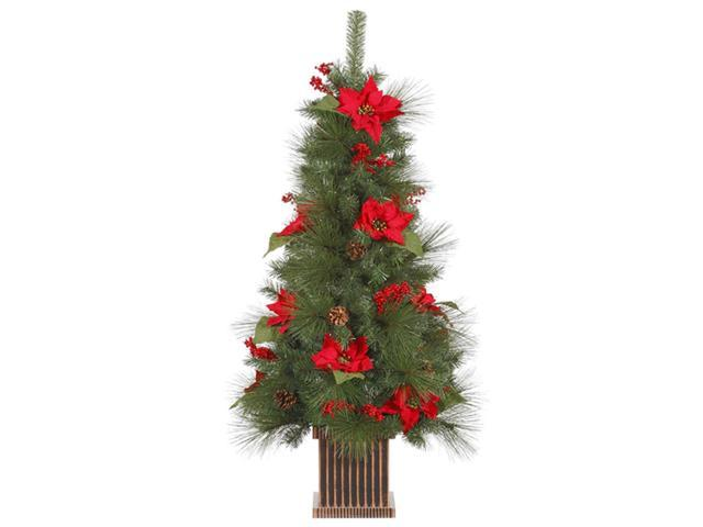 4' Poinsettia, Berry and Pine Cone Potted Artificial Christmas Tree - Unlit