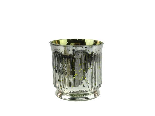 Set of 4 Lime Green and Silver Ribbed Mercury Glass Decorative Votive Candle Holders 3.25