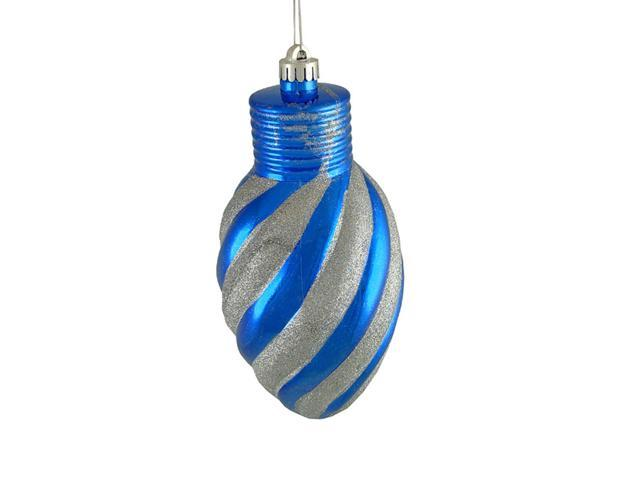 Blue and Silver Glitter Stripe Shatterproof Light Bulb Christmas Ornament 11