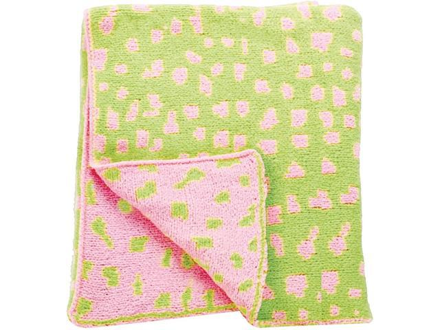 Pink and Celery Green Leopard Print Jacquard Knitted Throw Blanket 40