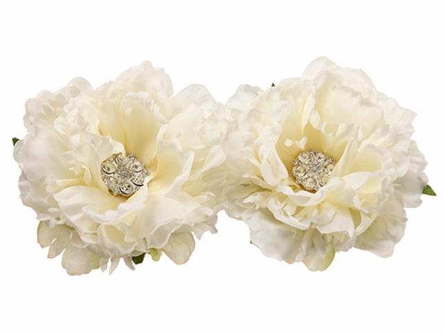 Set of 2 Ivory Peony Decorative Artificial Spring Floating Flowers 4.5