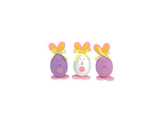 Set of 3 Pink, Purple and White Striped Easter Egg Bunny Spring Figure Decorations 3.5