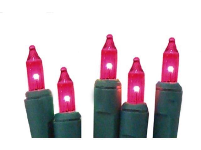 Set of 10 Battery Operated Pink Mini Christmas Lights - Green Wire