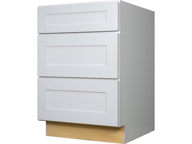 36 Inch Three Drawer Base Cabinet In Shaker White With 3