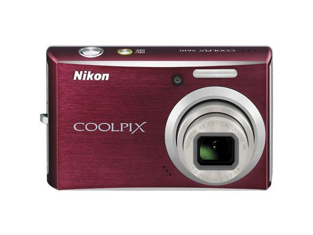 Nikon CoolPix S610 Deep Red 10.0 MP 4X Optical Zoom 28mm Wide Angle Digital Camera