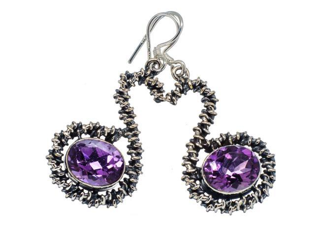 Ana Silver Co Faceted Amethyst 925 Sterling Silver Earrings 1 3/4