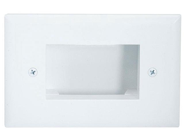 Easy Mount Low Voltage Cable Recessed Wall Plate, Slim Fit - White
