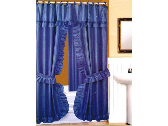 Double Swag Fabric Shower Curtain Liner Rings Dobby Dot Design Blue