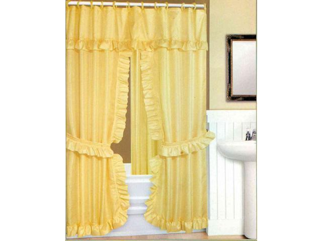 Double Swag Fabric Shower Curtain Liner Rings Dobby Dot Design Goldenrod