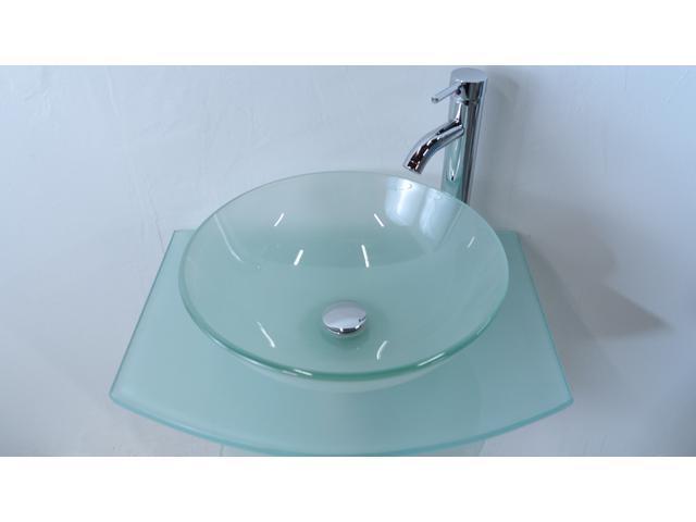 """Kokols 24 Bathroom Vanity Set kokols 24"""" frost tempered glass vessel vanities pedestal combo"""