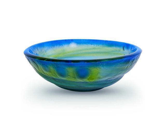 Round Bathroom Sink Bowls : Tempered Glass Vessel Bathroom Vanity Sink Round Bowl, Glazed Multi ...