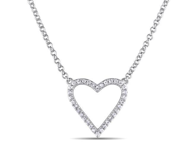 White Sapphire Heart Necklace in Sterling Silver