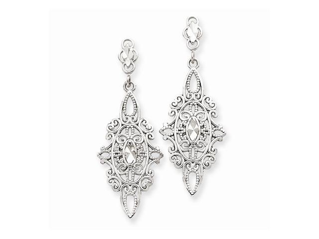14k White Gold D/C Filigree Shepherds Hook Dangle Earrings (1.4IN x 0.5IN)