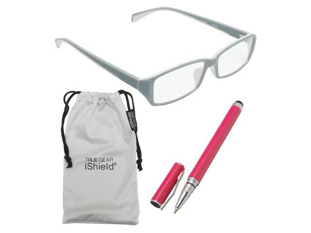 True Gear iShield Anti Reflective Reading Glasses - Double Injection Modern Style (+3.00) - Grey with White