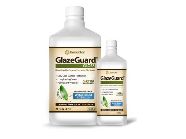 GlazeGuard Gloss Floor Sealer Wall Sealer for Ceramic, Porcelain, Stone Tile Surfaces (1 Qrt -Prof Grade (2) Part Kit)