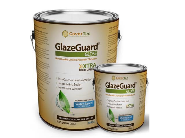 GlazeGuard Gloss Floor Sealer Wall Sealer for Ceramic, Porcelain, Stone Tile Surfaces (1 Gal -Prof Grade (2) Part Kit)