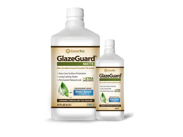 GlazeGuard Matte Floor Sealer Wall Sealer for Ceramic, Porcelain, Stone Tile Surfaces (36oz- Prof Grade (2) Part Kit)