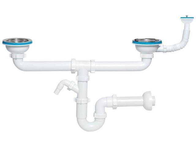 Double kitchen sink drain waste p trap 115mm with additional double kitchen sink drain waste p trap 115mm with additional overflow workwithnaturefo