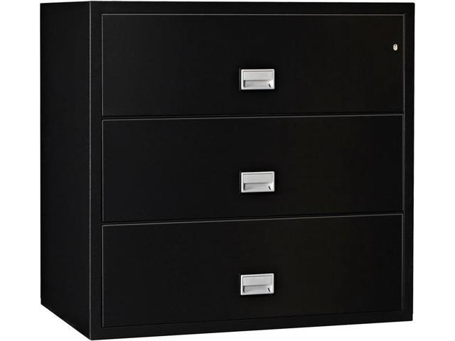 Phoenix Lateral 44 Inch 3 Drawer Fireproof File Cabinet   Black