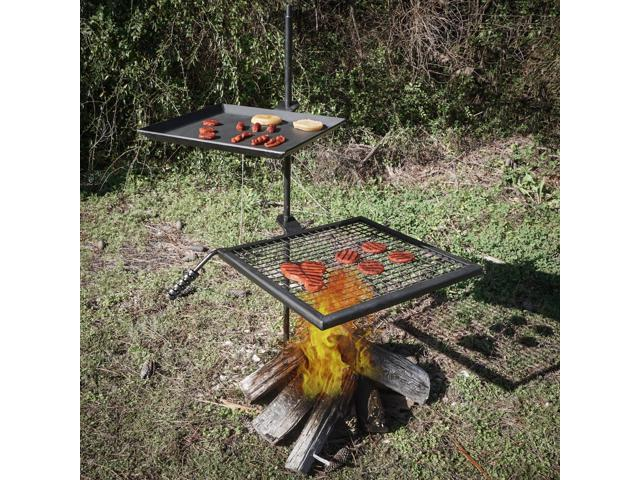 Adjustable swivel grill fire pit cooking grate griddle plate bbq
