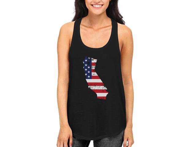 CA State USA Flag Women's Tank Top California American Flag Tanks