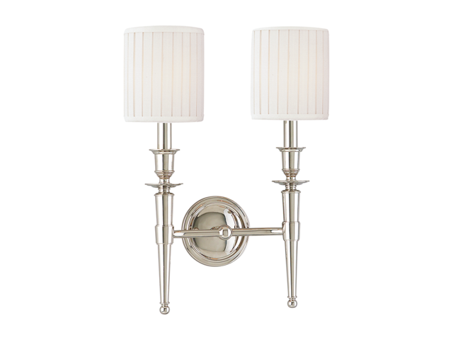Hudson Valley Abington 2 Light Wall Sconce, Polished Nickel - 4902-PN