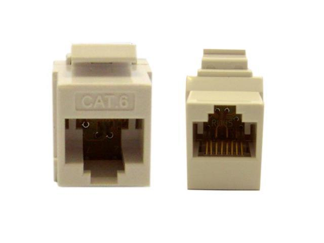Cable Wholesale Cat 6 Keystone Inline Coupler, White, RJ45 Female