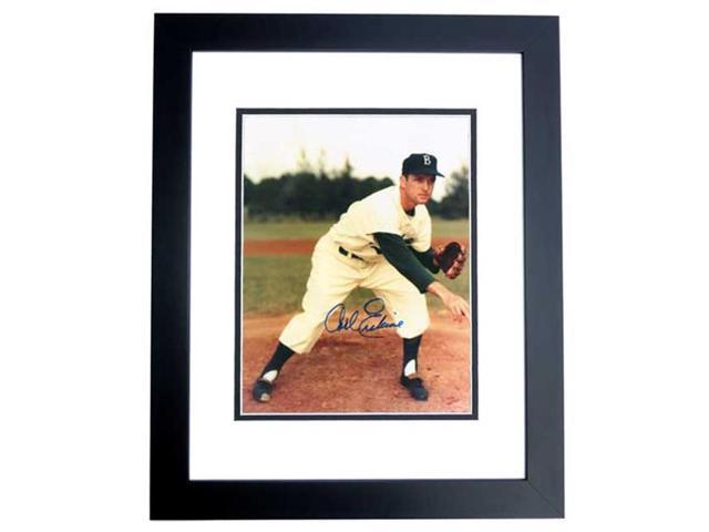 Real Deal Memorabilia CErskine8x10-2BF Carl Erskine Autographed Brooklyn Dodgers 8x10 Photo BLACK CUSTOM FRAME - 1955 World Series Champions