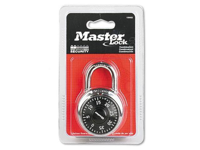 Master Lock MLK1500D Master Lock Combination Lock, Stainless Steel, 1-7/8  Wide, Black Dial, EA - MLK1500D