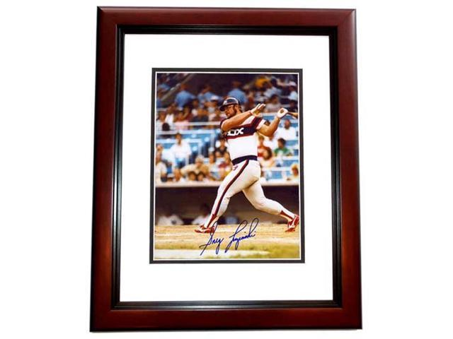 Real Deal Memorabilia GLuzinski8x10-3MF Greg Luzinski Autographed Chicago White Sox 8x10 Photo MAHOGANY CUSTOM FRAME
