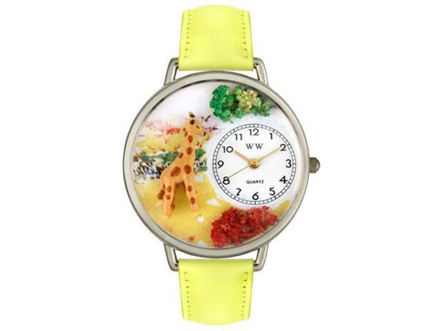 Whimsical Watches U0150007 Giraffe Yellow Leather And Silvertone Watch