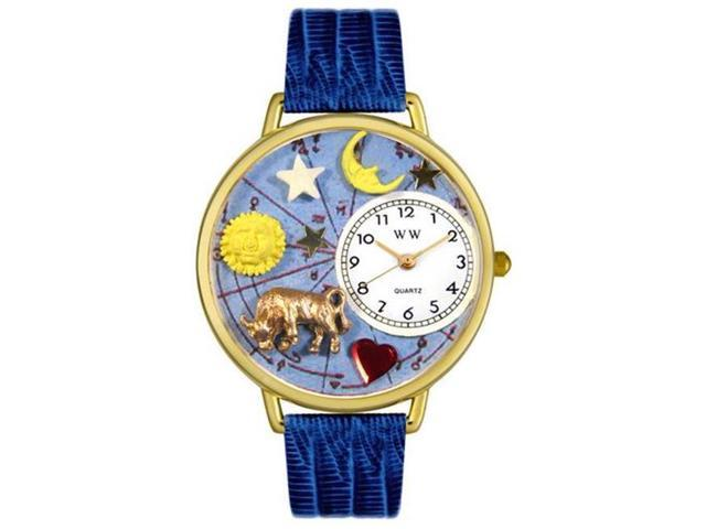 Whimsical Watches G1810012 Taurus Royal Blue Leather And Goldtone Watch