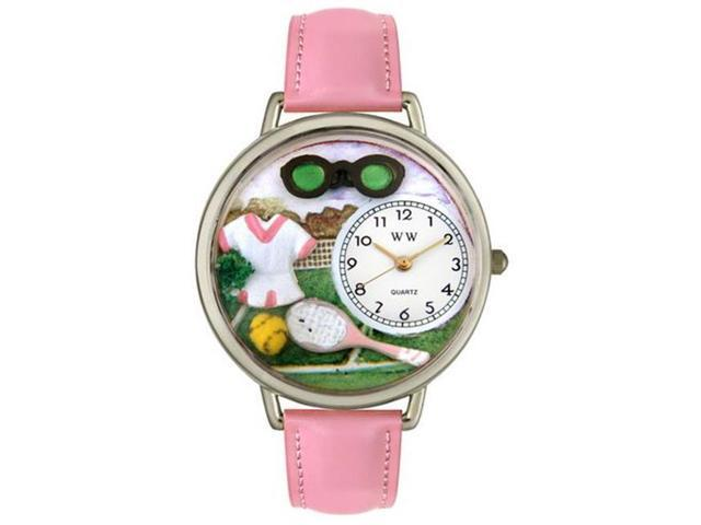 Whimsical Watches U0810008 Tennis Female Pink Leather And Silvertone Watch