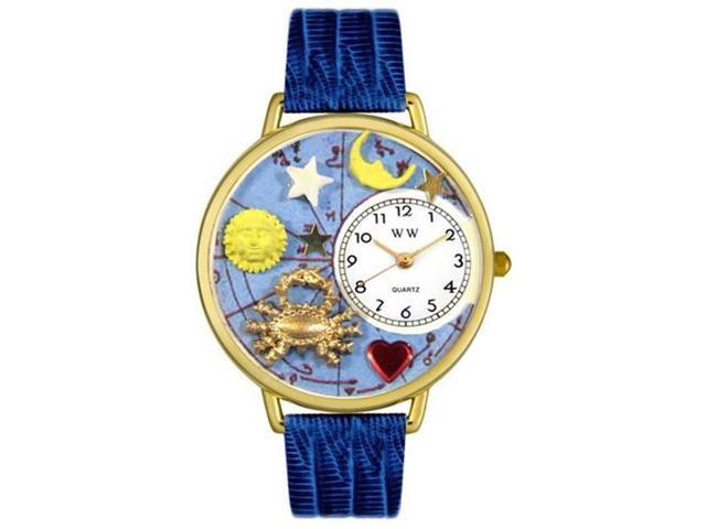 Whimsical Watches G1810004 Cancer Royal Blue Leather And Goldtone Watch