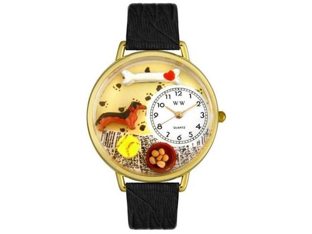 Whimsical Watches G0130034 Dachshund Black Skin Leather And Goldtone Watch