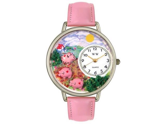 Whimsical Watches U0110003 Pigs Pink Leather And Silvertone Watch