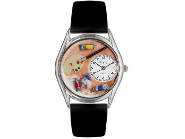 Whimsical Watches S0410001 Artist Black Leather And Silvertone Watch