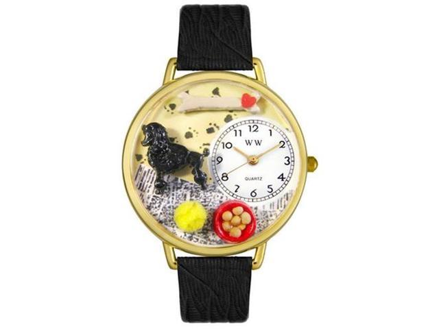 Whimsical Watches G0130059 Poodle Black Skin Leather And Goldtone Watch