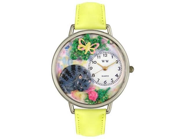 Whimsical Watches U0120013 Cat Nap Yellow Leather And Silvertone Watch